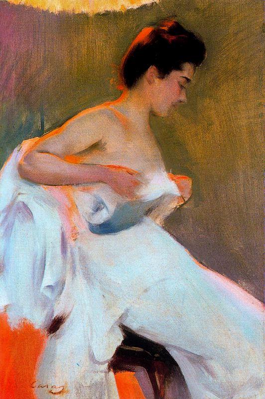 Mujer desnudándose. Óleo sobre lienzo. 54 x 36 cm. Colección Pedro Masaveu. Principado de Asturias. Obra de Ramón Casas